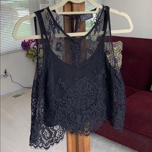 ASTR Black Lace Crop Top
